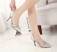Latest Elegant Fashion Popular Joker Hollowed Solid Color Sharp Toe Thin Heels
