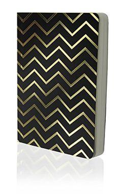 Shimmer Chevron Gold Black A6 Notebook