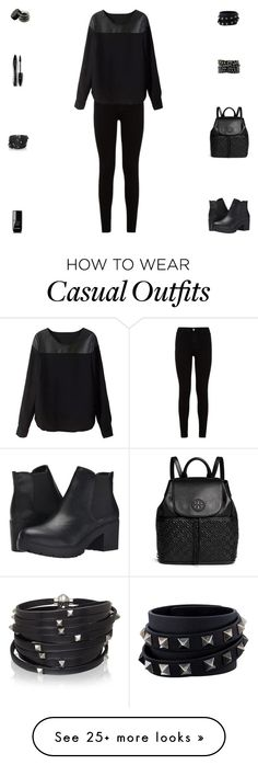 """""""Contest: Black Leather Casual Outfit"""" by billsacred on Polyvore featuring Tory Burch, Steve Madden, 7 For All Mankind, Sif Jakobs Jewellery, Valentino, Lancôme, Chanel, women's clothing, women and female"""