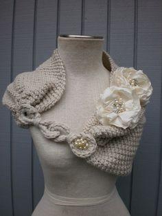 Bridal Shurg Bridal Bolero Wedding Shrug Bridal shawl by Knitted Shawls, Crochet Scarves, Crochet Shawl, Crochet Clothes, Knit Crochet, Crocheted Scarf, Knit Shrug, Crochet Winter, Winter Wedding Shawl