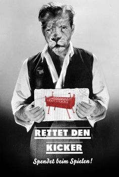 rettet den kicker - plakat von 2ell alter roter löwe rein, berlin, richardstraße
