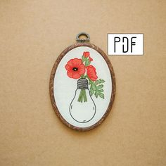 Poppies in a Light Bulb Hand Embroidery Pattern (PDF modern embroidery pattern) by ALIFERA on Etsy