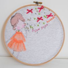 Follow Your Dreams -  Embroidery Hoop Art Wall Hanging - New Baby Girl Gift, Nursery Decor, Children's Bedroom
