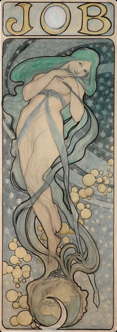 songesoleil:  Design for the poster JOB.1897. Watercolour, indian ink on paper. 120x 44cm. National Gallery, Prague, Czech Republic.  Art by Alfons Mucha.(1860-1939).