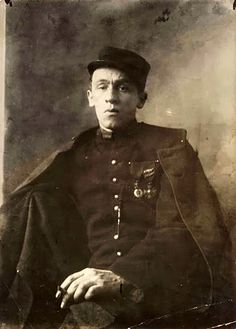 WW1, Blaise Cendrars, poet,  posing in the uniform of the French Foreign Legion…