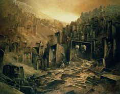 Zdzislaw Beksinski - City in the Shadow of the Mountain reference.