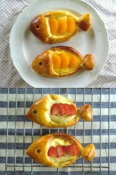 Fish Shape Fruit Cream Bread by nekomumu- Fish Cream Bread by nekomumu Cream pastries w / mandarins & strawberries ~ fish- Cute Food, Good Food, Fish Breading, Baby Food Recipes, Cooking Recipes, Gluten Free Pastry, Bread Shaping, Fruit Bread, Fish Shapes