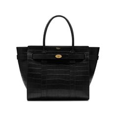 169ef6e53 Mulberry - Zipped Bayswater in Black Deep Embossed Croc Print Emboss,  Fashion Bags, Shopping