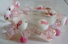 pink wire crochet, breast cancer awareness bracelet