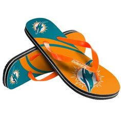 Head to the beach or bask by the pool in these Miami Dolphins flip flops.
