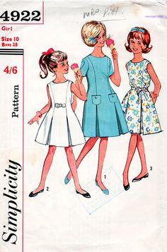 1960s Girl's #Princess #Dress #Vintage #Sewing #Pattern - Simplicity 4922 Size 10