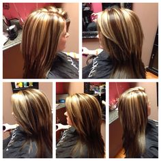 Brunette with blonde chunky highlights! Brown and blonde.  Chocolate brown.  Brown and blonde chunky foils   #kkhhair