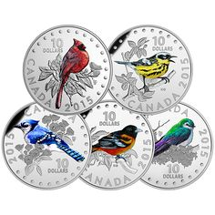 Colourful Songbirds of Canada - 1/2 oz. Fine Silver Coloured 5-Coin Subscription (2015)