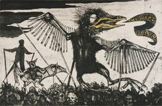 """Sue Coe. What a Golden Beak! (They Want War). 1999. Etching on wove paper, with hand coloring. Signed, and titled, lower center, and numbered, lower left. Coe/Murray chop and red thistle stamp, lower left. 7 3/4"""" x 11 7/8"""" (19.7 x 30.2 cm). Plate 2 from the cycle The Tragedy of War. From an estimated edition of 75 impressions. Copyright © 1999 Sue Coe, Courtesy Galerie St. Etienne, NY."""