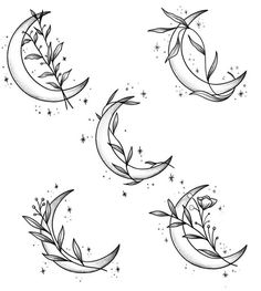 Leafy crescent moons Doing these at 30 each! Middle & bottom left already taken - Leafy crescent moons Doing these at 30 each! Middle & bottom left already taken - Wörter Tattoos, Dream Tattoos, Mini Tattoos, Flower Tattoos, Tattoo Drawings, Body Art Tattoos, Small Tattoos, Tatoos, Compass Tattoo