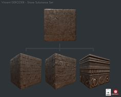 Those Materials have been made from the same procedural Material just by tweaking some parameters like the layout, depth or dirt. Done in Substance Designer and Rendered in Marmoset Toolbag 2.