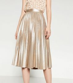 Zara Finely Pleated Metallic Midi Skirt