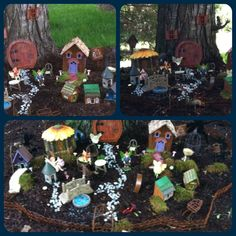 Love my fairy gardens!  The houses are inexpensive bird houses. The fairy  doors are cut from the bird hole.  Some items including mushrooms are made with Sculpty. So much fun doing this with the grand kids.