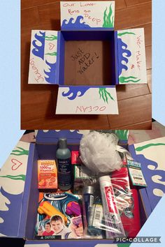 He asked for hygiene items/toiletries...! Just add water ;) Included: loofah, bodywash, facial cleanser, toothpaste, toothbrush, emergen-c, mini nerf super soaker guns, and more! Anything he can use with water! 😄