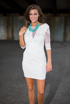 """Sheerly In Love Dress, White""  $48.00"