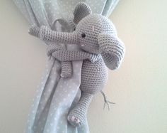 Elephant Curtain Tie Back, Crochet Elephant, Amigurumi, Tie-Back Elephant, Gray Elephant