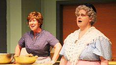"Mary Wayne, left, and Nancy Lahs rehearse Tuesday for ""Church Basement Ladies,"" which opens tonight at the Marion Ross Performing Arts Center. -- Kelli Lageson/Albert Lea Tribune 2013"