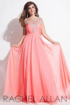 Chiffon gown with decorative neckline and open back