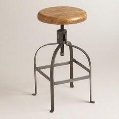 Adjustable Round Wood and Metal Stool