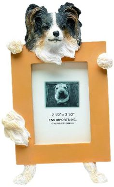Tri-Color Papillion Picture Frame Holds Your Favorite 2.5 by 3.5 Inch Photo, Hand Painted Realistic Looking Papillion Stands 6 Inches Tall Holding Beautifully Crafted Frame, Unique and Special Papillion Gifts for Papillion Owners ** Visit the image link more details. (This is an Amazon affiliate link)