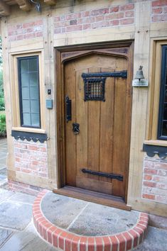 Our century period style solid oak doors are all bespoke made to measure. Internal and external oak doors, single or double doors. Hand carved linenfold panelled front doors to internal ledge brace planked cottage doors . Solid Oak Doors, Oak Front Door, Wooden Front Doors, Wooden Door Hangers, Front Door Design, Cottage Style Front Doors, Cottage Door, Tudor Decor, External Oak Doors