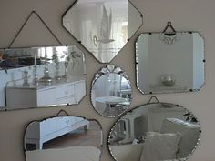 Vintage Mirrors one in the middle is so cute - miroir Old Mirrors, Vintage Mirrors, Vintage Decor, Wall Of Mirrors, Jeep Mirrors, Mirror Mirror, Hanging Mirrors, Hallway Mirror, Etched Mirror