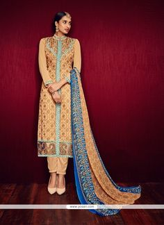 Flamboyant Georgette Orange Embroidered Work Pant Style Suit Model: YOS7639