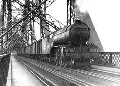 1950s Steam Train Scotland   ... Train crosses the Forth Bridge - 1950s