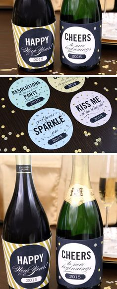Free Printasble Wine Bottle Labels | 20 + Last Minute New Years Eve Party Ideas