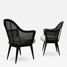 Harvey Probber Pair of Caned Back Armchairs by Harvey Probber
