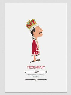 Illustration 'Freddie Mercury- The Queen ' with quote. Print to decorate your home. Freddie Mercury Zitate, Freddie Mercury Quotes, Queen Freddie Mercury, Queen Band, John Deacon, Freedy Mercury, Feuille A3, Rainha Do Rock, Art Pariétal