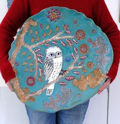 an imagined eden: Big Owl Platter Look at the size of this! wonderful free form look and glorious colors
