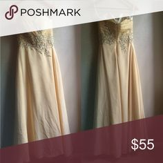 Light Yellow Prom Dress This floor-length prom dress is sure to flatter any wearer! It is strapless with a sweetheart neckline, corset fitting top, A-line cut, and embroidery and sequined detailing. Dresses Prom