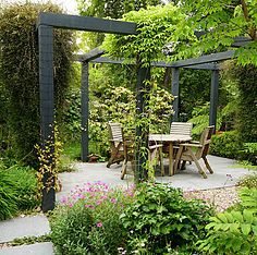 New pergola patio design courtyards ideas Rustic Pergola, Pergola Garden, Sloped Garden, Small Backyard Landscaping, Pergola Kits, Pergola Ideas, Small Patio, Backyard Ideas, Urban Garden Design
