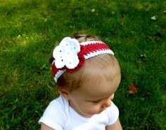 Red and White Flower Baby Headband - Christmas Headband by AbigailsAttic112