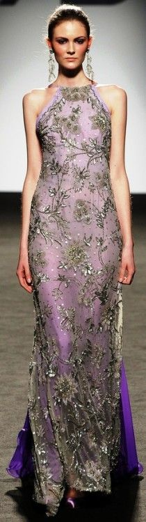 Couture lavender gown.  Sleeveless sheath with silver flowers and leaves.  Beautiful!