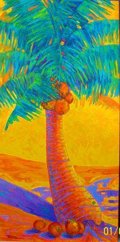 ART. TANIA CAMARA. PALMERA DE COCO. 2014 ACRILICO SOBRE TELA. 90.X 1.80 MTRS 2014