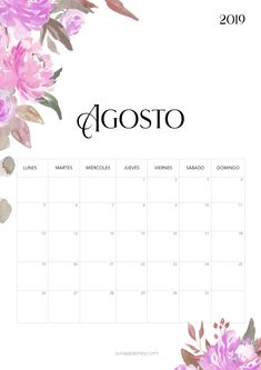 Calendario para imprimir Agosto 2019 #freebie #calendario #calendar #agosto #flowers #nature #papeleria #stationary Agenda Planner, Happy Planner, Printable Labels, Printables, Baby Girl Quotes, Calendar Wallpaper, School Calendar, Engagement Cards, Ideas Para Fiestas
