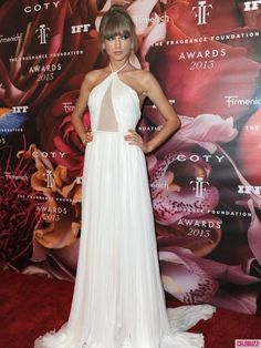 Taylor Swift Goes for Retro Glamour in Halter Dress and Updo at Fragrance Foundation Awards
