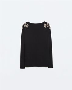 Image 6 of SWEATER WITH JEWELLED LEAVES ON SHOULDER from Zara