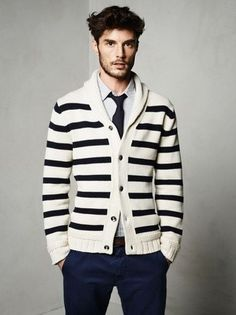 Men's White and Black Horizontal Striped Shawl Cardigan, White and Blue Vertical Striped Long Sleeve Shirt, Navy Chinos, Navy Tie