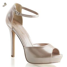 Womens Shiny Champagne Patent Nude Shoes with Ankle Strap and 4.75'' Heels Size: 5 - Summitfashions pumps for women (*Amazon Partner-Link)