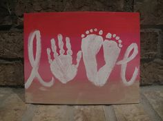 LOVE canvas using child's hand and feet-