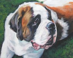 Saint Bernard art print CANVAS print of LA Shepard by TheDogLover, $19.99