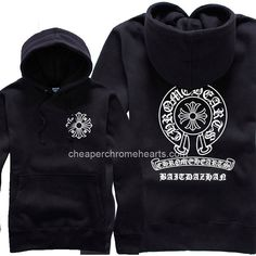 8f10ad4e10e White Horseshoes Logo and Letters Chrome Hearts Black Hoodie Hot Sale